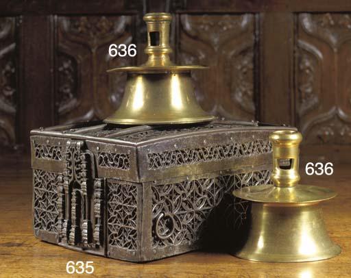 A wrought iron missal casket