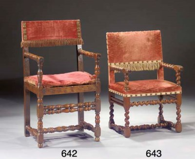 A walnut fauteuil