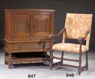 A Dutch oak fauteuil
