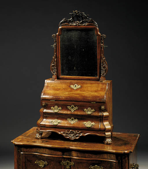 A Dutch mahogany toilet mirror