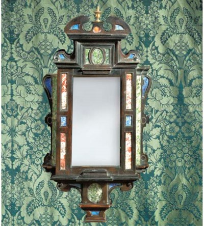 A pietra dure and ebony mirror