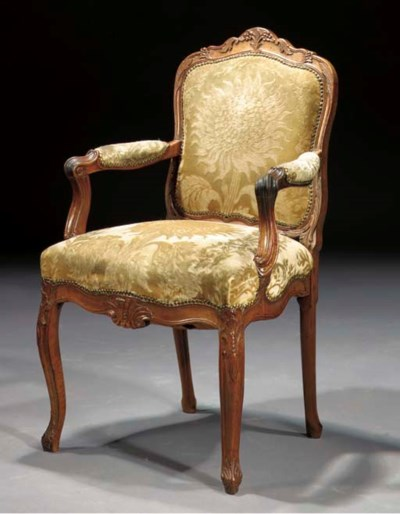 A Dutch walnut fauteuil