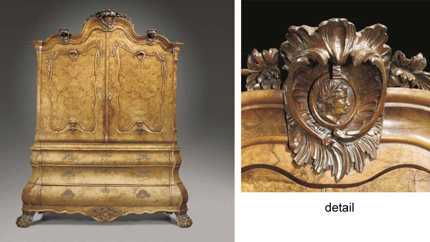 A Dutch burr-walnut cabinet