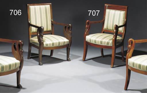 A Pair of Empire mahogany faut