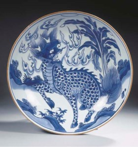 A Transitional blue and white saucer dish