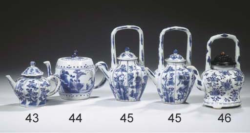 A blue and white teapot and a