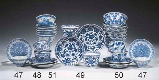 A set of nine blue and white c
