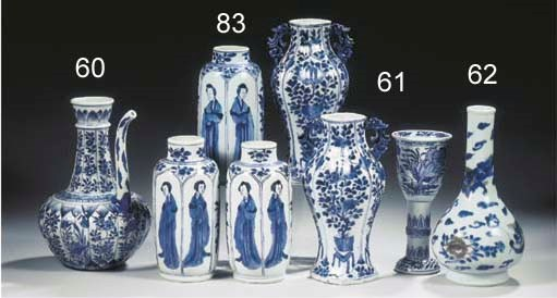 A blue and white fluted goblet
