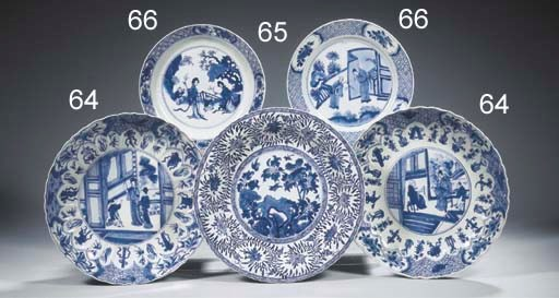 Six blue and white plates