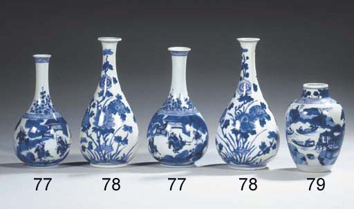 Five various blue and white va