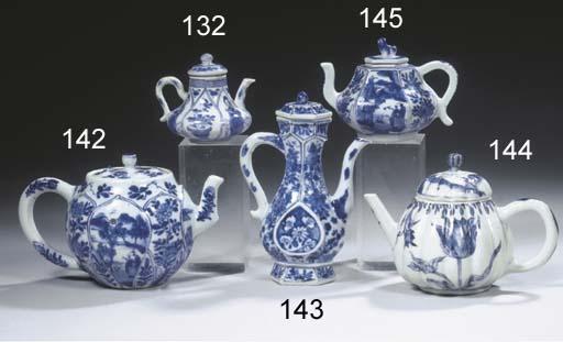 A rare blue and white teapot a