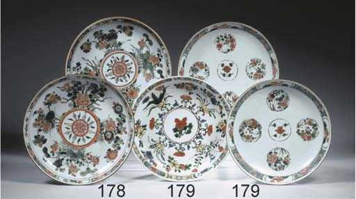 A pair of famille verte dishes