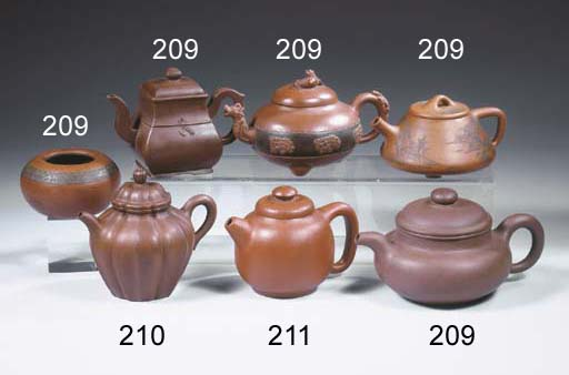 A group of four Yixing teapots