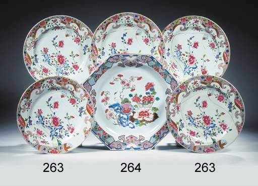 A set of six large famille ros