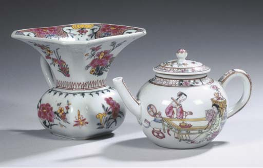 A famille rose spittoon and a