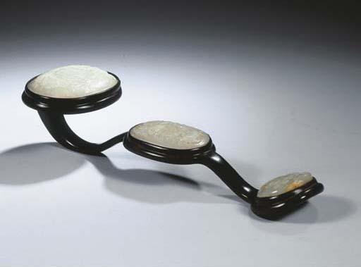 A hardwood and jade ruyi scept
