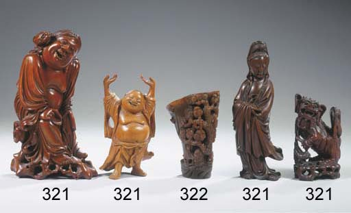 Four wood carvings
