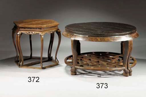 A pair of half moon tables