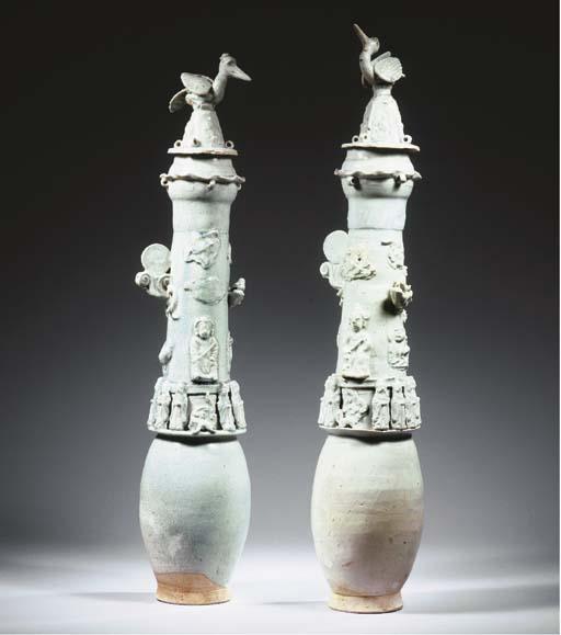A large pair of Qingbai funera