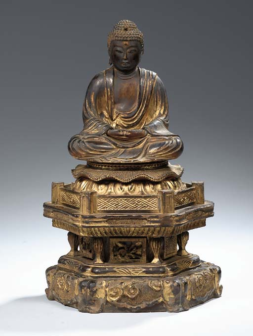 A giltwood figure of Amida Bud