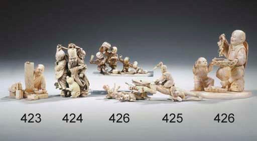 Five ivory okimono