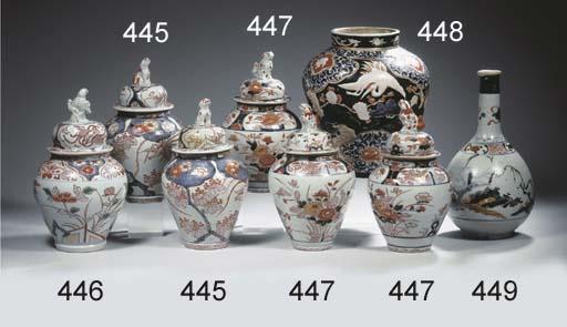 Three imari baluster jars and