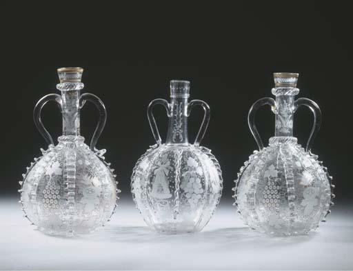 Three Dutch engraved two-handl
