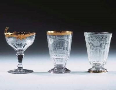 Three Silesian engraved facete