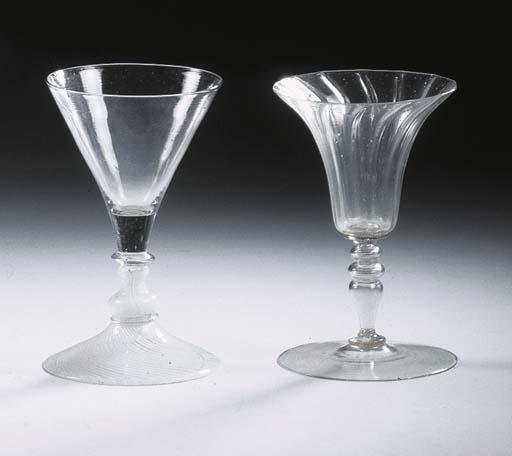 A façon de Venise Filigrana goblet and a ribbed goblet