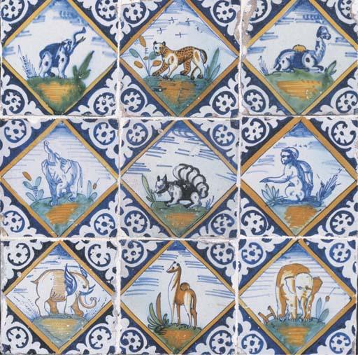 A Rotterdam polychrome animal lozenge tile panel