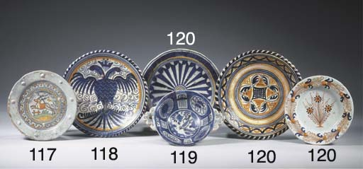 Three various Haarlem maiolica polychrome plates