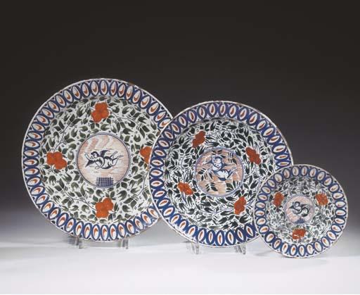 Three Dutch Delft polychrome w