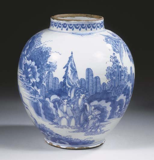 A Dutch Delft blue and white balustroid chinoiserie vase