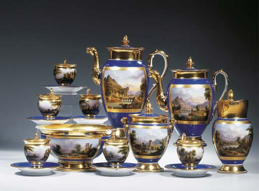 A Deroche Paris porcelain gilt