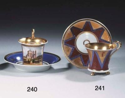 A Paris porcelain gilt tripod