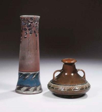 A partly glazed pottery vase