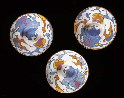 Korrels, three glazed pottery