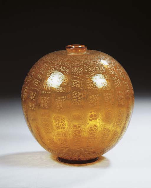 An Unica amber glass vase