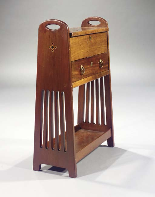 An inlaid mahogany work table