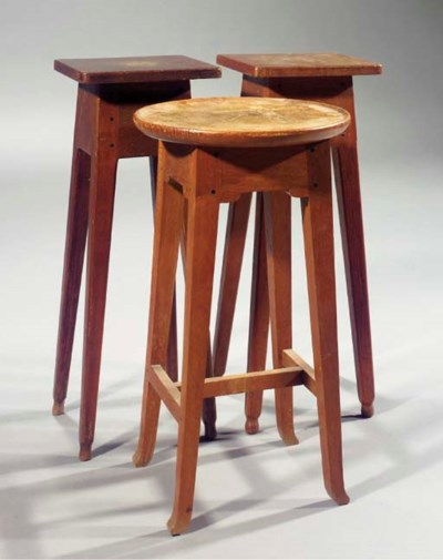 Three oak plant pedestals