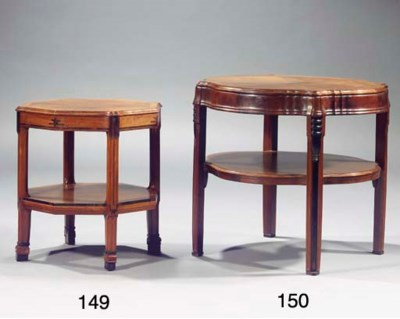 A mahogany veneered centre tab