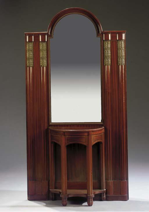 A mahogany veneered hall mirror