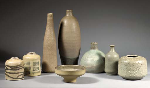 Eight stoneware objects