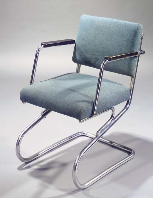 A tubular steel armchair