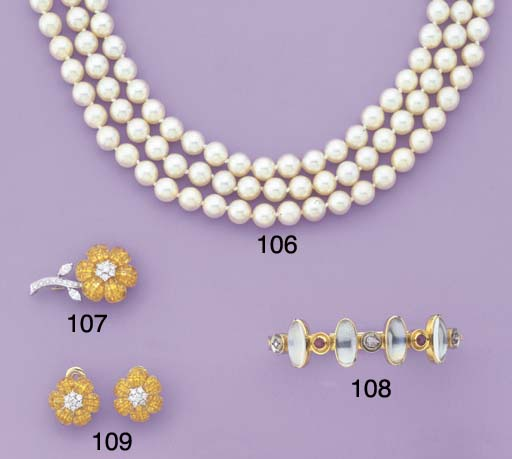 A CULTURED PEARL AND ROSE-CUT