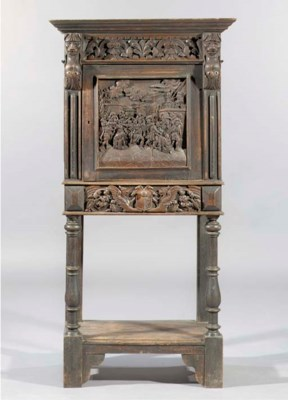 A German oak cabinet-on-stand