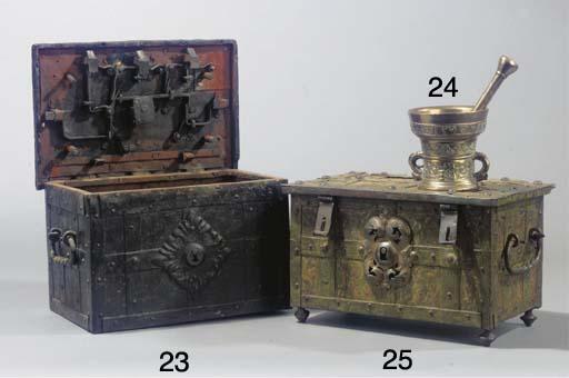 (2) A bronze mortar and pestle
