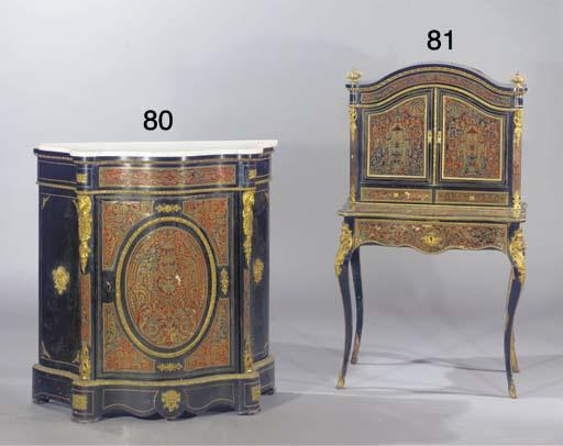 A Napoleon III ebonised ormolu-mounted brass and tortoiseshell marquetry Bonheur du Jour