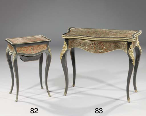 A Napoleon III ebonised ormolu-mounted brass and tortoiseshell marquetry worktable
