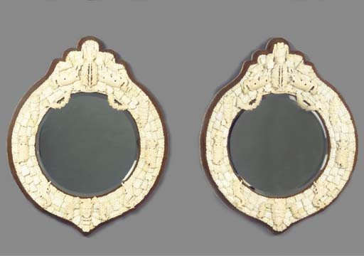(2) A pair of Dieppe ivory-mou